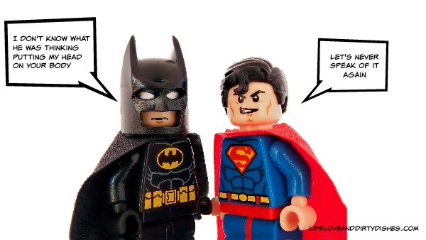 "Image of a lego batman and lego superman. Lego Batman is saying ""I can't beleive he put my head on your body"". Lego Superman is saying ""Let's never speak of this again."""