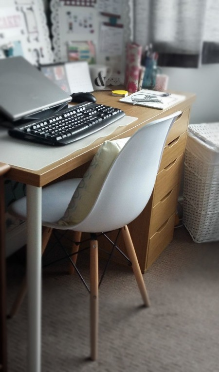 Image of a chair at a desk in a work from home environment
