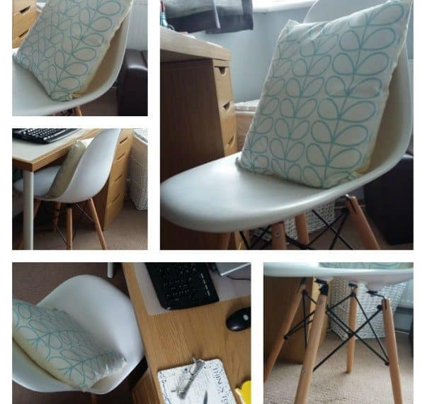 Colage of images if the lakeland chair at a desk in a work from home environement