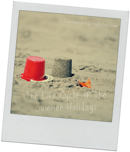 Image of bucket and sandcastle on a beach with the text The life cycle of the Summer Holidays