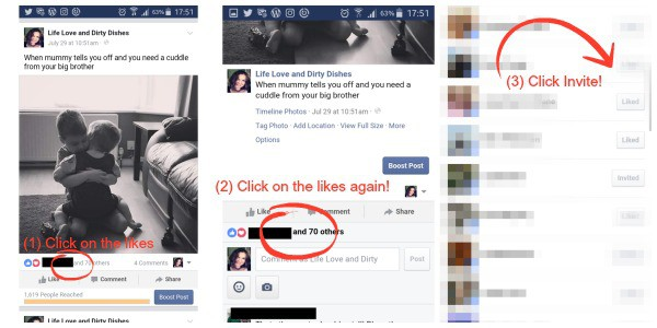 Step by steb guide on how to invite people who have liked your facebook post to like your facebook page