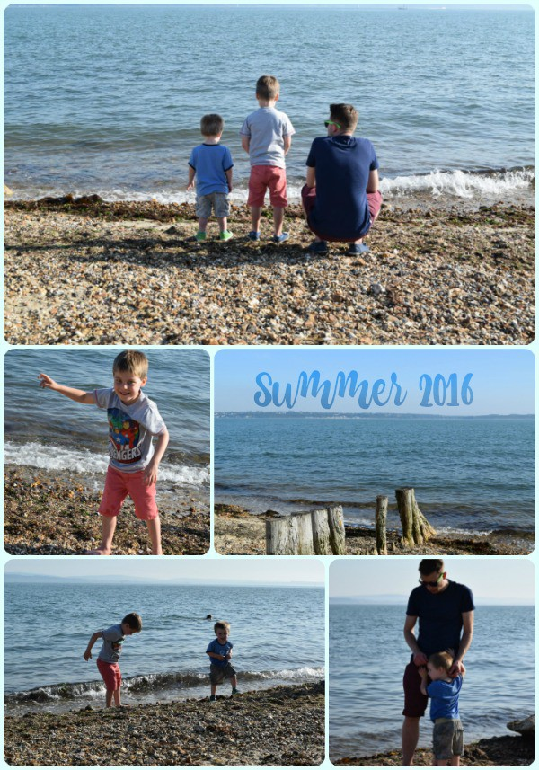 Collage of images of children playing at at beach in summer