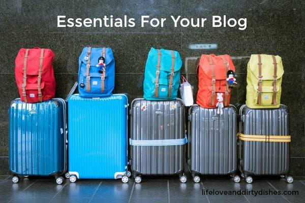 Image of luggage with the text 'Essentials for your blog'