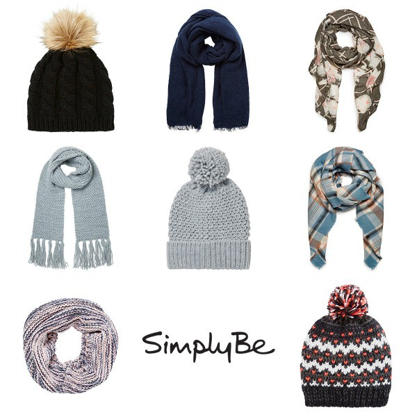 a selection of autumn and winter hats and gloves from Simply Be