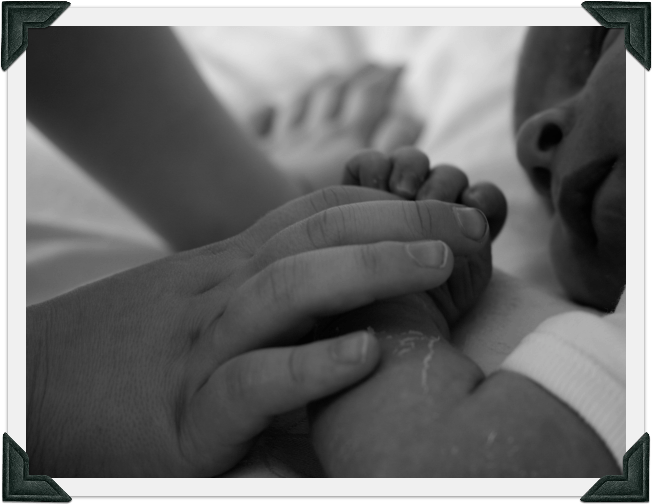 Image of a child holding a baby's hand.
