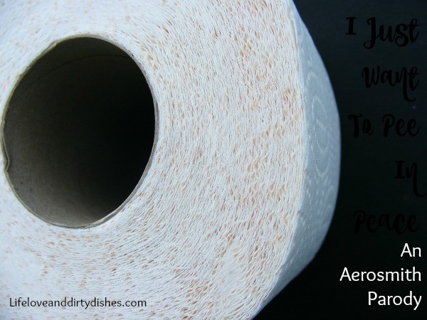 Toilet roll with text I just want to pee in peace