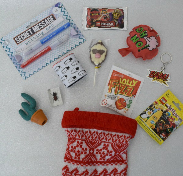 Five Under £5 Stocking gifts for boys flat lay image