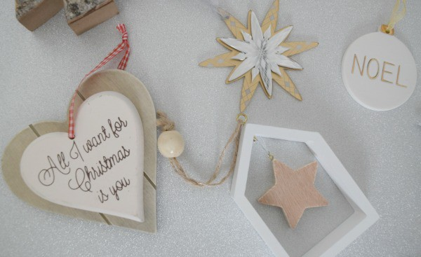 Image of hanging tree decorations under £5