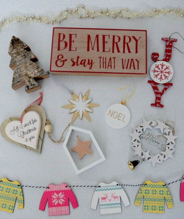 Five Under £5 christmas decorations flat lay image