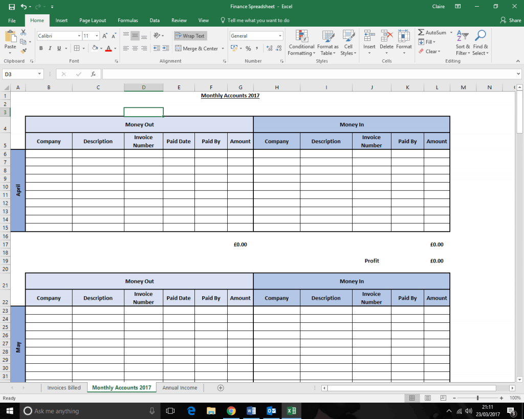 Keeping track of your earnings Monthly accounts spreadsheet screen shot