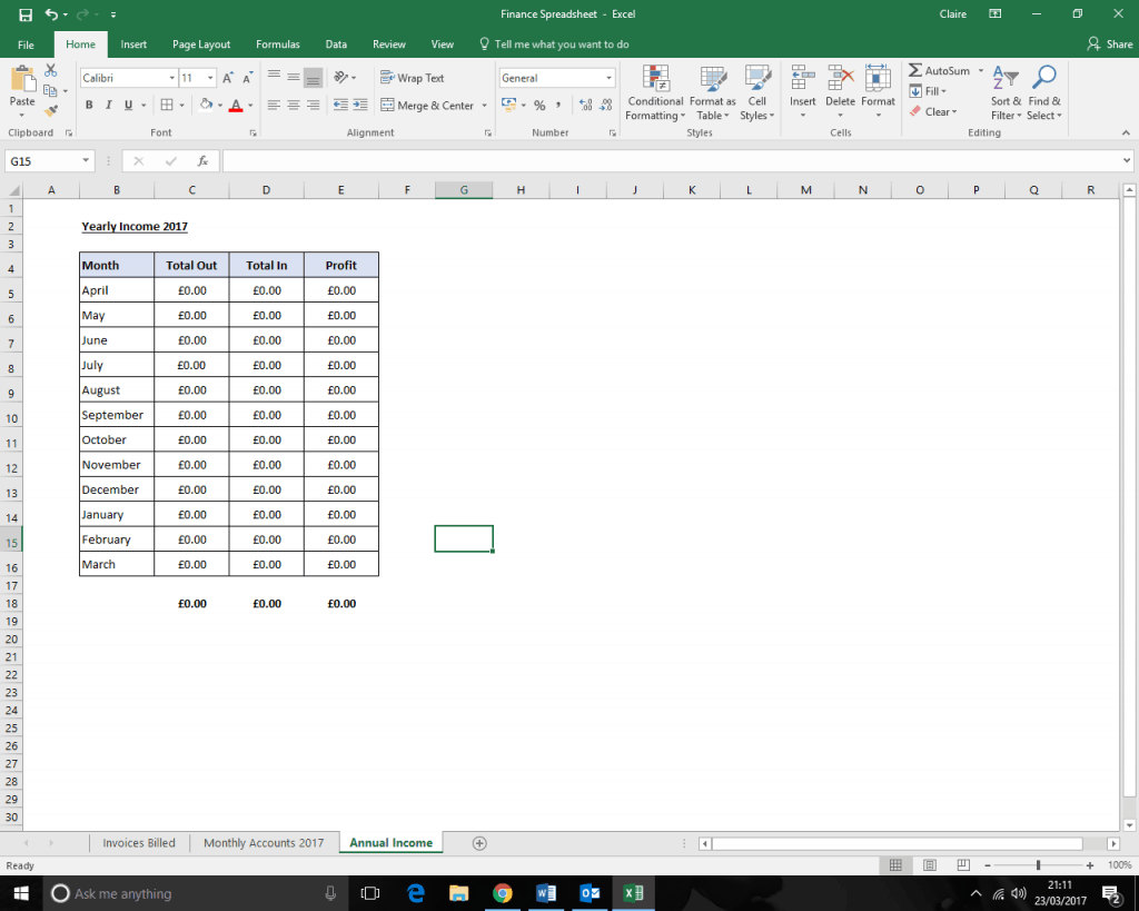 Keeping track of your earnings Annual Income spreadsheet screen shot