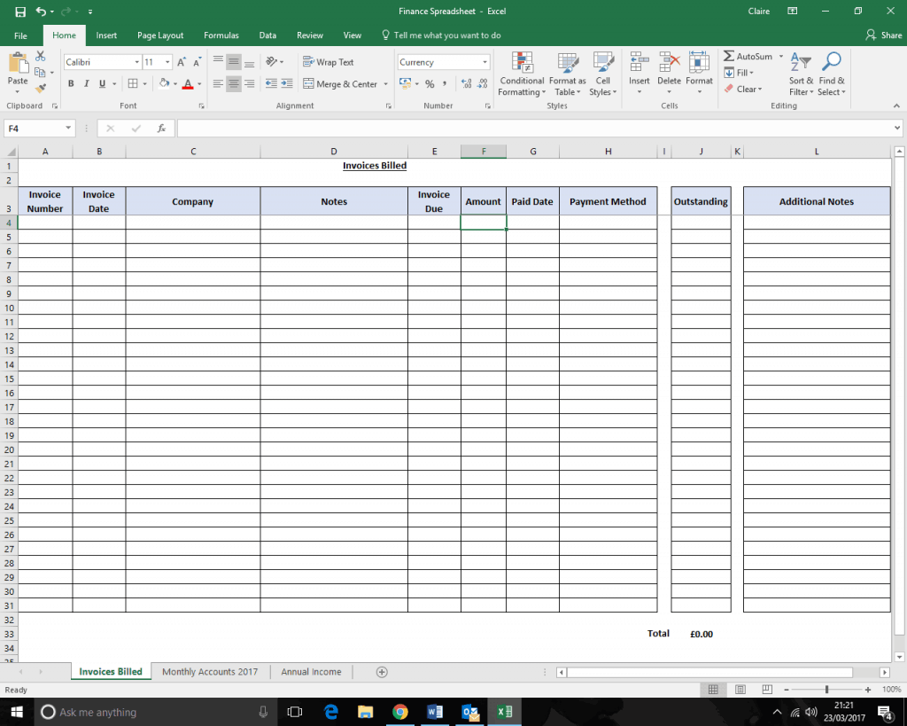 Keeping track of your earningssinvoices billed spreadsheet screen shot