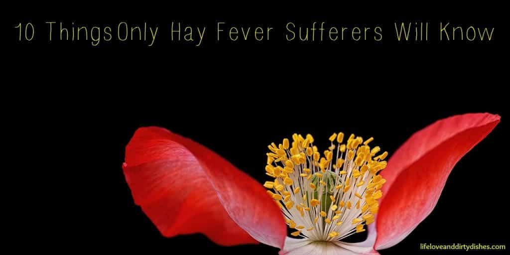 Image of a flower with the text 10 things only hay fever sufferer will know