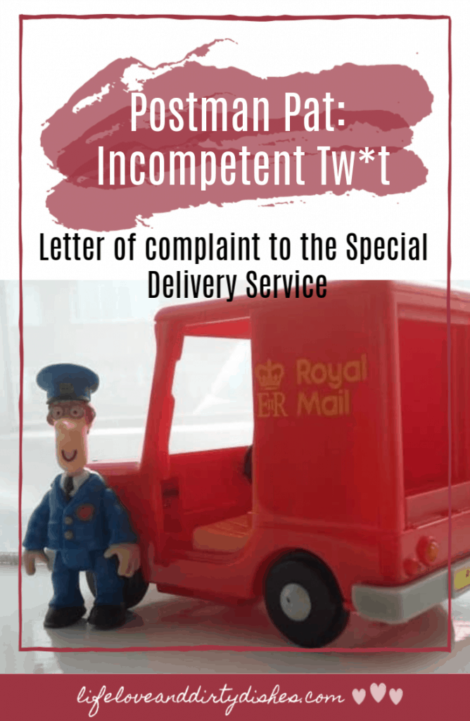 A letter of complaint to the Special Delivery Service about Postman Pat. #childrens TV #humour