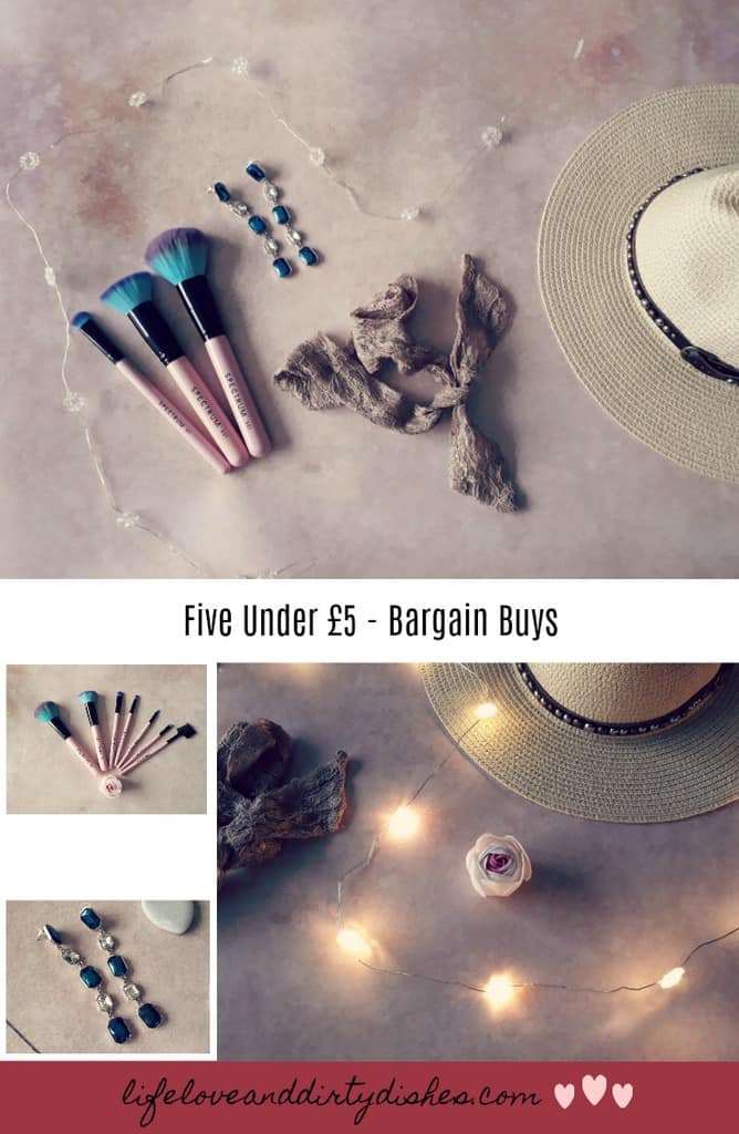 Pretty things I picked up in the sales. All bargains at under £5 including jewellery, summer hat, photo frames and fairy lights