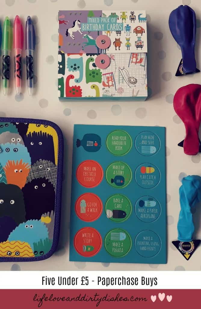 Five under £5 rainy day bargains. great things to do with the kids from Paperchase.