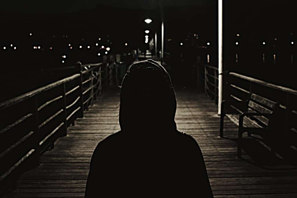 Life after Luther.  Dark menacing image of someone in a hoody on a dark night.  You cannot see their face.