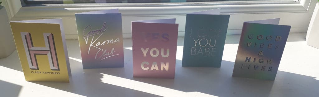 five under £5 notecards from paperchase