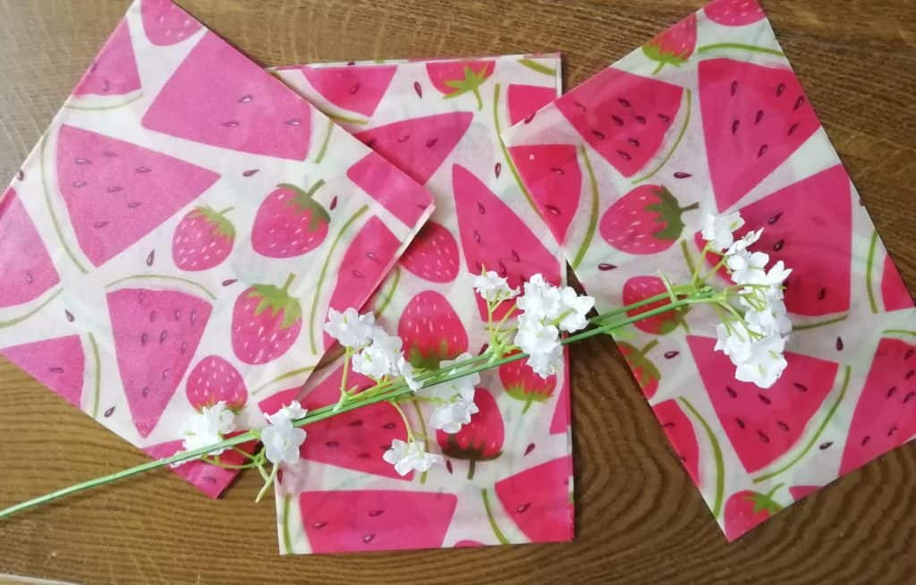 beeswax wraps with watermelons on