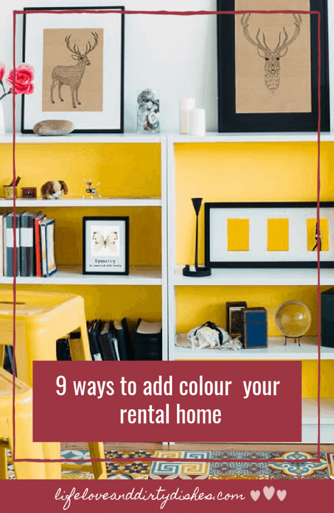 9 ways to add colour to your rental home.  It's easy to add colour without paint and make a home your own.